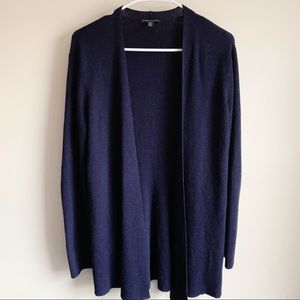 Eileen Fisher Wool Ribbed Open Cardigan Sweater